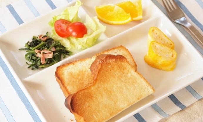 白いランチプレート 朝食盛り付け例
