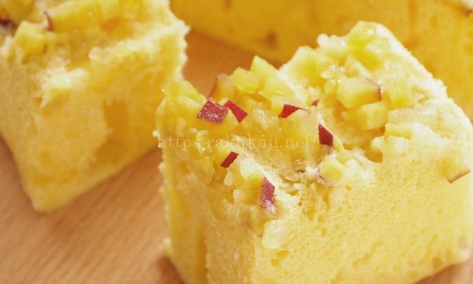 シリコンスチーマーで作るリンゴとさつまいもの蒸しケーキ